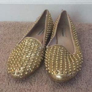 Steve Madden Gold Spike Loafers